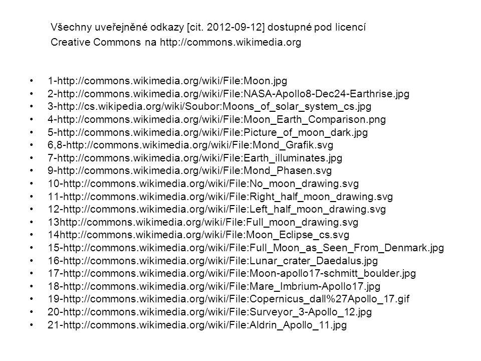 Všechny uveřejněné odkazy [cit. 2012-09-12] dostupné pod licencí